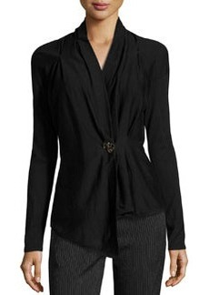 Escada Schecko Wool-Silk Embellished Cardigan, Black