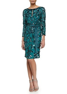 Escada Sequin-Embroidered Slit Keyhole Dress