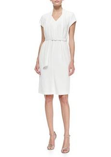 Escada Short-Sleeve Belted Drape-Collar Dress