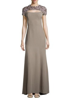 Escada Short-Sleeve Rosette Silk Gown, Taupe