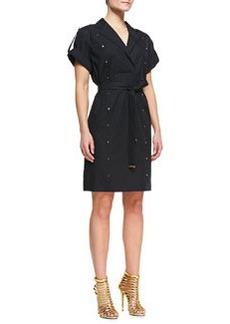 Escada Short-Sleeve Shirtdress with Studs, Black