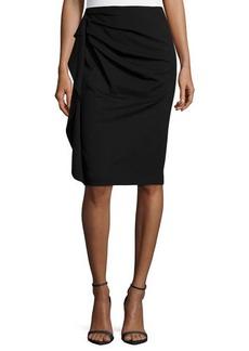 Escada Side-Ruffle Pencil Skirt, Black