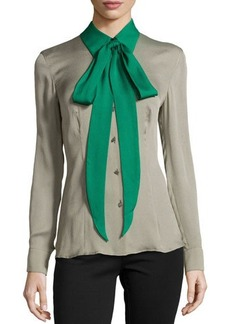 Escada Silk Colorblock Tie-Neck Blouse, Sage
