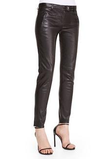 Escada Skinny Leather Pants, Black