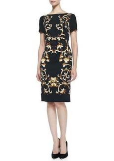 Escada Sleeveless Baroque-Print Sheath Dress, Black