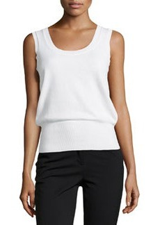 Escada Sleeveless Cashmere Top, White