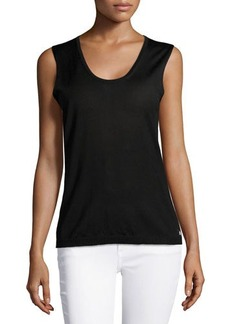Escada Sleeveless Scoop-Neck Knit Top, Black