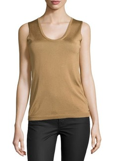 Escada Sleeveless Scoop-Neck Knit Top, Brass