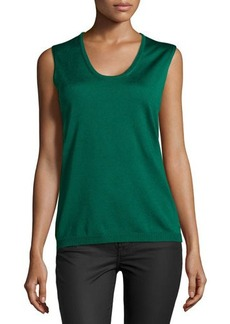Escada Sleeveless Scoop-Neck Knit Top, Smaragd