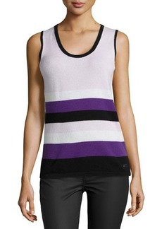 Escada Sleeveless Scoop-Neck Striped Knit Top