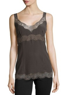 Escada Sleeveless Silk Tank W/Lace Trim