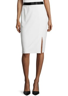 Escada Slit-Front Pencil Skirt, Off White