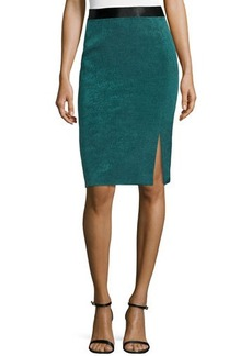 Escada Slit-Front Pencil Skirt, Teal