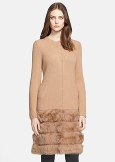ESCADA 'Soris' Sweater Coat with Genuine Shearling Hem