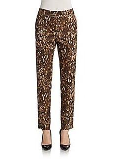 Escada Sport Leopard-Print Slim Poplin Pants