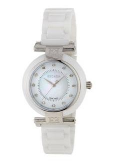 Escada Stainless Steel Ceramic Three-Hand Lauren Watch w/ Diamonds