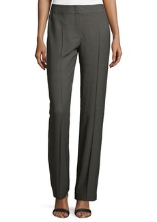 Escada Straight-Leg Silk-Blend Pants, Granite