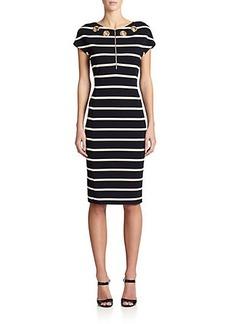 Escada Striped Embellished Dress