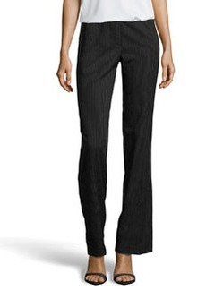 Escada Tanja Pinstripe Seersucker Wide Leg Pants, Black