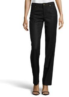 Escada Tessa Stretch-Wool Jeans, Black
