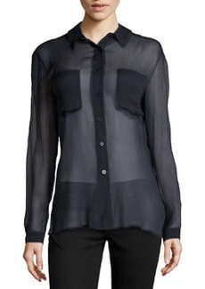 Escada Textured-Chiffon Relaxed Blouse, Dark Blue