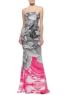 Escada Thilo Westermann Colorblock Floral Gown, Black/Pink