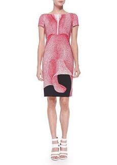 Escada Thilo Westermann Short-Sleeve Petal-Print Dress, Orchid