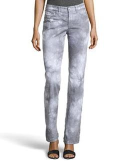 Escada Tie-Dye Straight-Leg Jeans, Pastel Gray