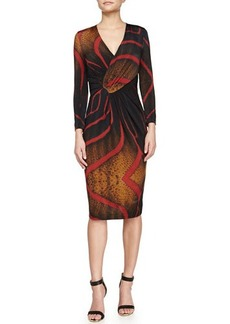 Escada Tiger-Print Faux-Wrap Dress