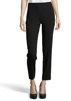 Escada Tuska Slim Wool-Knit Pants, Black
