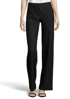 Escada Tux Pinstripe Wool-Knit Pants, Black