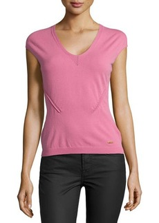 Escada V-Neck Cap-Sleeve Knit Top