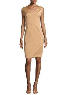 Escada V-Neck Cap-Sleeve Shift Dress, Brass
