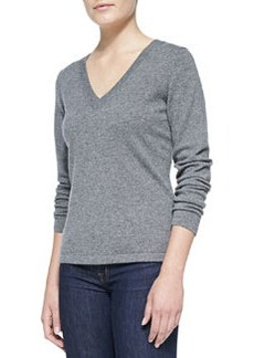 Escada V-Neck Cashmere Pullover Sweater, Gray