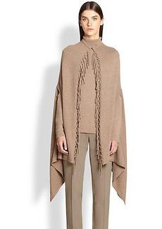 Escada Virgin Wool/Silk/Cashmere Fringe Cape