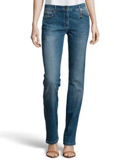 Escada Whiskered Medium-Wash Jeans, Blue
