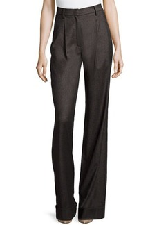 Escada Wide-Leg Cuffed Trousers, Charcoal