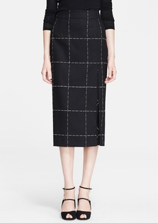 ESCADA Windowpane Wool Blend Midi Skirt