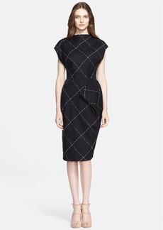 ESCADA Windowpane Wool Blend Sheath Dress