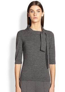 Escada Wool & Cashmere Tie-Neck Top