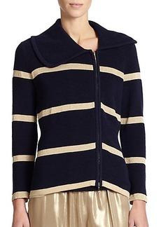 Escada Wool & Silk Asymmetrical Stripe Cardigan