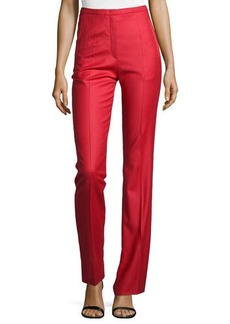 Escada Wool-Blend Straight-Leg Pants, Lacquer