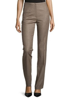 Escada Wool-Blend Straight-Leg Pants, Tobacco