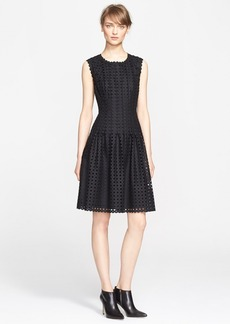 ESCADA Wool Eyelet Fit & Flare Dress (Nordstrom Exclusive)