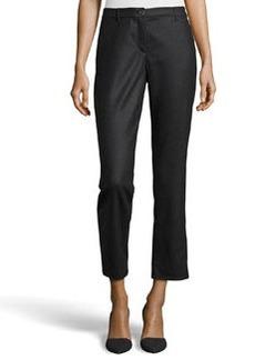 Escada Wool Twill Straight-Leg Pants, Charcoal