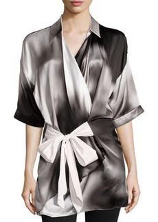 Escada Wrap-Front Short-Sleeve Blouse, Black