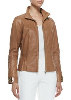Escada Zip-Up Leather Jacket, Caramel