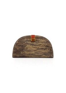Etienne Aigner Crown Leather Mini-Clutch, Dusty Olive