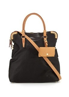 Etienne Aigner Daily Distressed Leather Fold-over Tote, Black