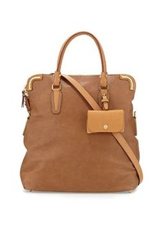 Etienne Aigner Daily Distressed Leather Fold-over Tote, Sand